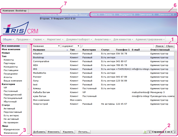 Структура интерфейса IRIS CRM