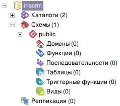 Пустая база данных PostgreSQL для Iris CRM