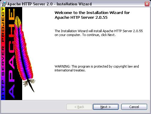 Установка Apache, окно приветствия