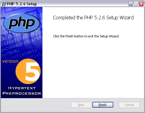 Установка PHP, завершение